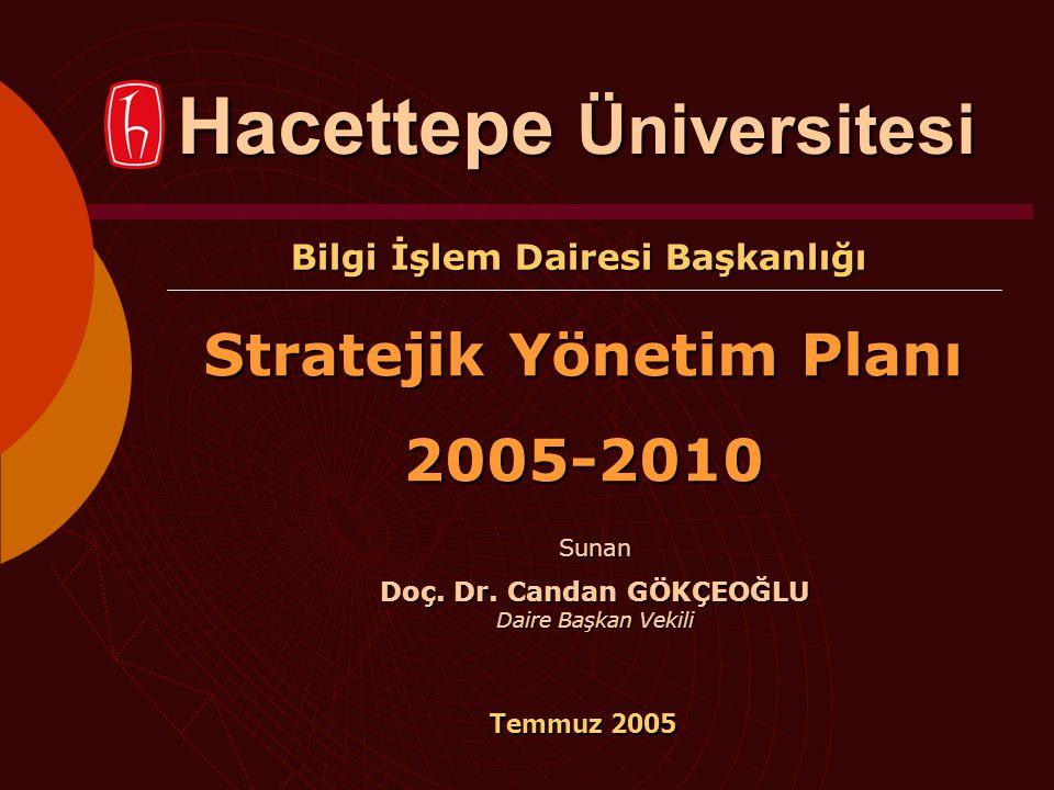 Bilgi İşlem Dairesi Başkanlığı Stratejik Yönetim Planı 2005-2010 Temmuz 2005 Hacettepe Üniversitesi Sunan Doç. Dr. Candan GÖKÇEOĞLU Daire Başkan Vekil