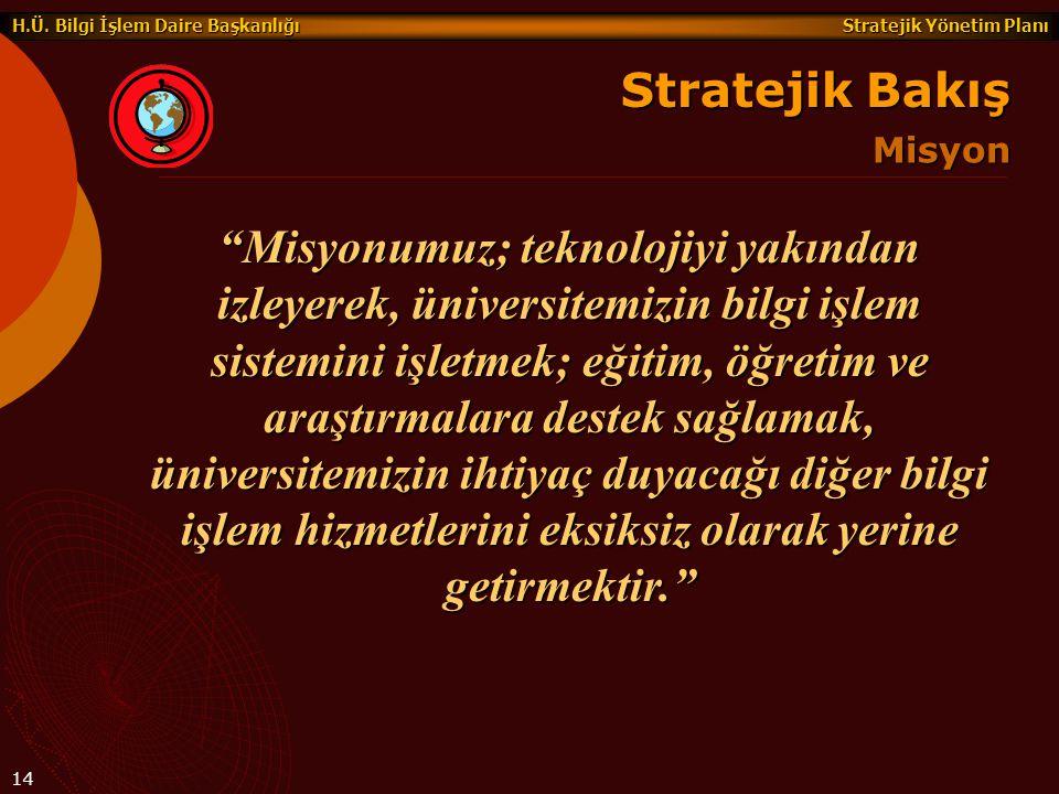 """Stratejik Yönetim Planı H.Ü. Bilgi İşlem Daire Başkanlığı 14 """"Misyonumuz; teknolojiyi yakından izleyerek, üniversitemizin bilgi işlem sistemini işletm"""
