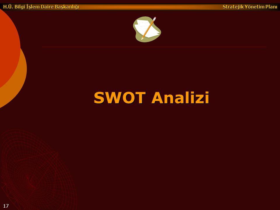 Stratejik Yönetim Planı H.Ü. Bilgi İşlem Daire Başkanlığı 17 SWOT Analizi