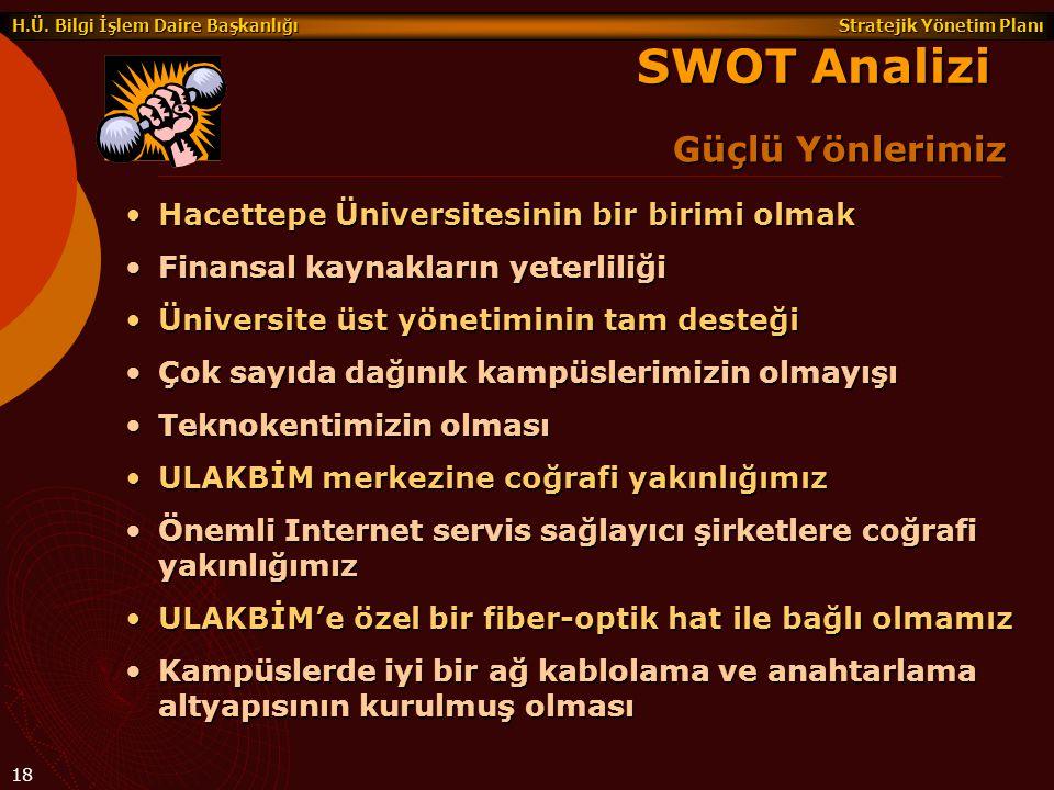 Stratejik Yönetim Planı H.Ü. Bilgi İşlem Daire Başkanlığı 18 Güçlü Yönlerimiz SWOT Analizi Hacettepe Üniversitesinin bir birimi olmakHacettepe Ünivers