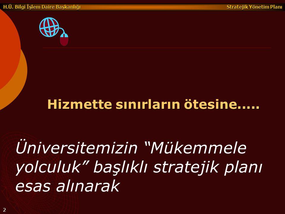 """Stratejik Yönetim Planı H.Ü. Bilgi İşlem Daire Başkanlığı 2 Hizmette sınırların ötesine..... Üniversitemizin """"Mükemmele yolculuk"""" başlıklı stratejik p"""