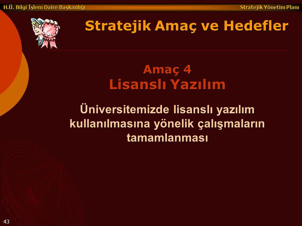 Stratejik Yönetim Planı H.Ü. Bilgi İşlem Daire Başkanlığı 43 Üniversitemizde lisanslı yazılım kullanılmasına yönelik çalışmaların tamamlanması Stratej