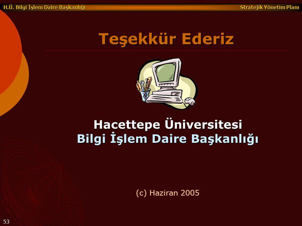 Stratejik Yönetim Planı H.Ü. Bilgi İşlem Daire Başkanlığı 53 Hacettepe Üniversitesi Bilgi İşlem Daire Başkanlığı Teşekkür Ederiz (c) Haziran 2005