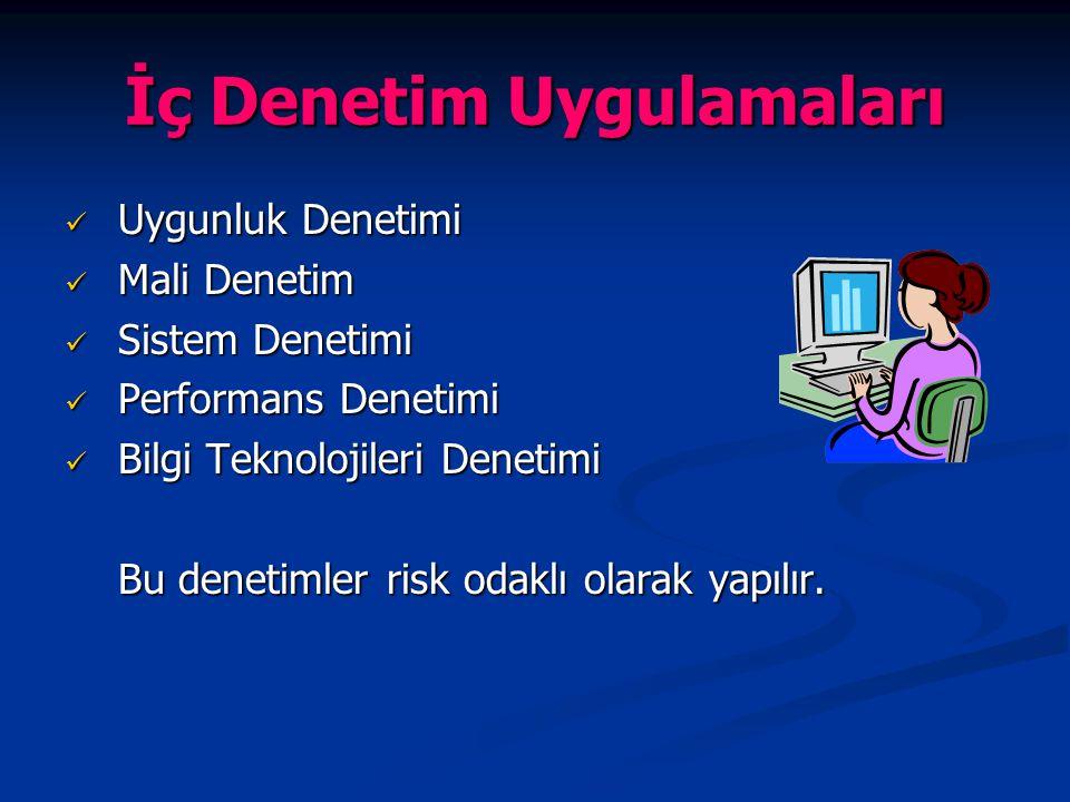 İç Denetim Uygulamaları Uygunluk Denetimi Uygunluk Denetimi Mali Denetim Mali Denetim Sistem Denetimi Sistem Denetimi Performans Denetimi Performans D