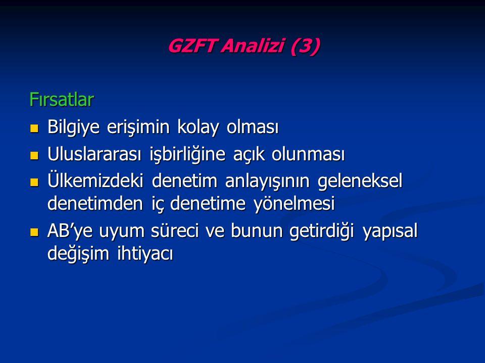 GZFT Analizi (3) Fırsatlar Bilgiye erişimin kolay olması Bilgiye erişimin kolay olması Uluslararası işbirliğine açık olunması Uluslararası işbirliğine
