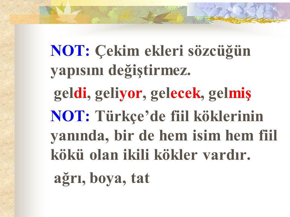 NOT: Çekim ekleri sözcüğün yapısını değiştirmez. geldi, geliyor, gelecek, gelmiş NOT: Türkçe'de fiil köklerinin yanında, bir de hem isim hem fiil kökü