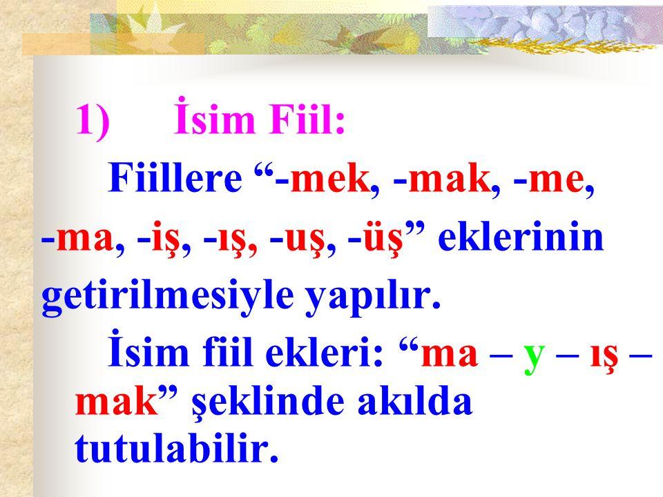 """1)İsim Fiil: Fiillere """"-mek, -mak, -me, -ma, -iş, -ış, -uş, -üş"""" eklerinin getirilmesiyle yapılır. İsim fiil ekleri: """"ma – y – ış – mak"""" şeklinde akıl"""