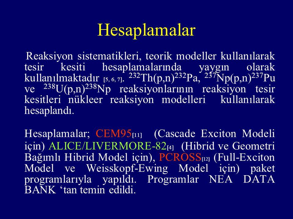 Hesaplamalar Reaksiyon sistematikleri, teorik modeller kullanılarak tesir kesiti hesaplamalarında yaygın olarak kullanılmaktadır [5, 6, 7].