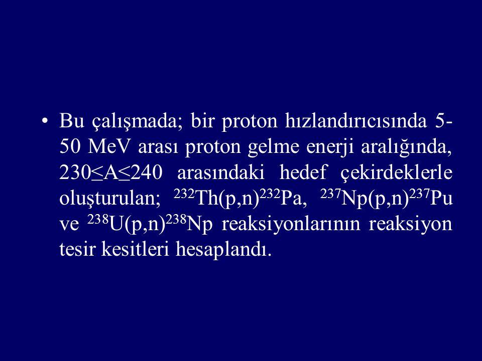 Bu çalışmada; bir proton hızlandırıcısında 5- 50 MeV arası proton gelme enerji aralığında, 230≤A≤240 arasındaki hedef çekirdeklerle oluşturulan; 232 Th(p,n) 232 Pa, 237 Np(p,n) 237 Pu ve 238 U(p,n) 238 Np reaksiyonlarının reaksiyon tesir kesitleri hesaplandı.
