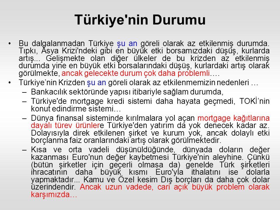 Türkiye nin Durumu Bu dalgalanmadan Türkiye şu an göreli olarak az etkilenmiş durumda.