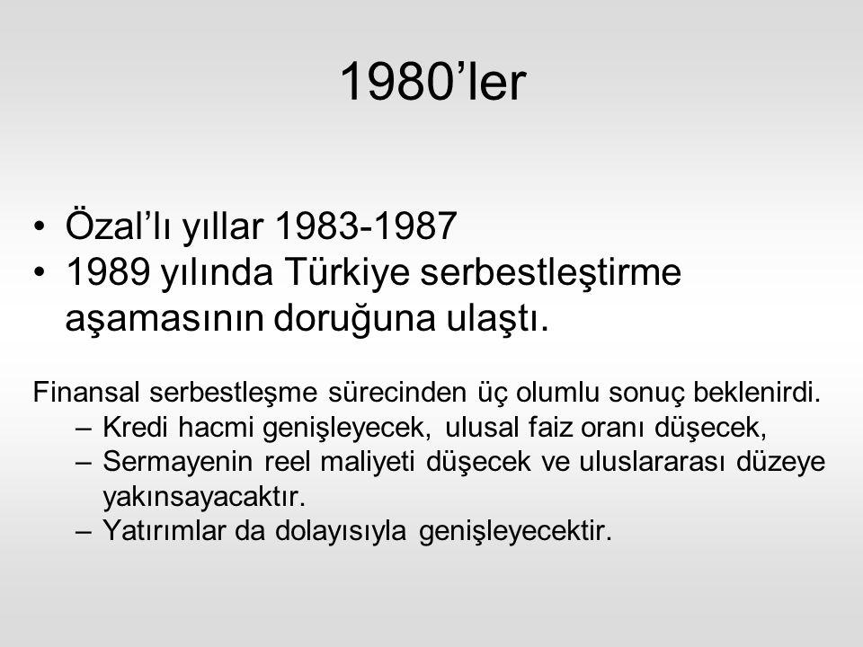1980'ler Özal'lı yıllar 1983-1987 1989 yılında Türkiye serbestleştirme aşamasının doruğuna ulaştı.