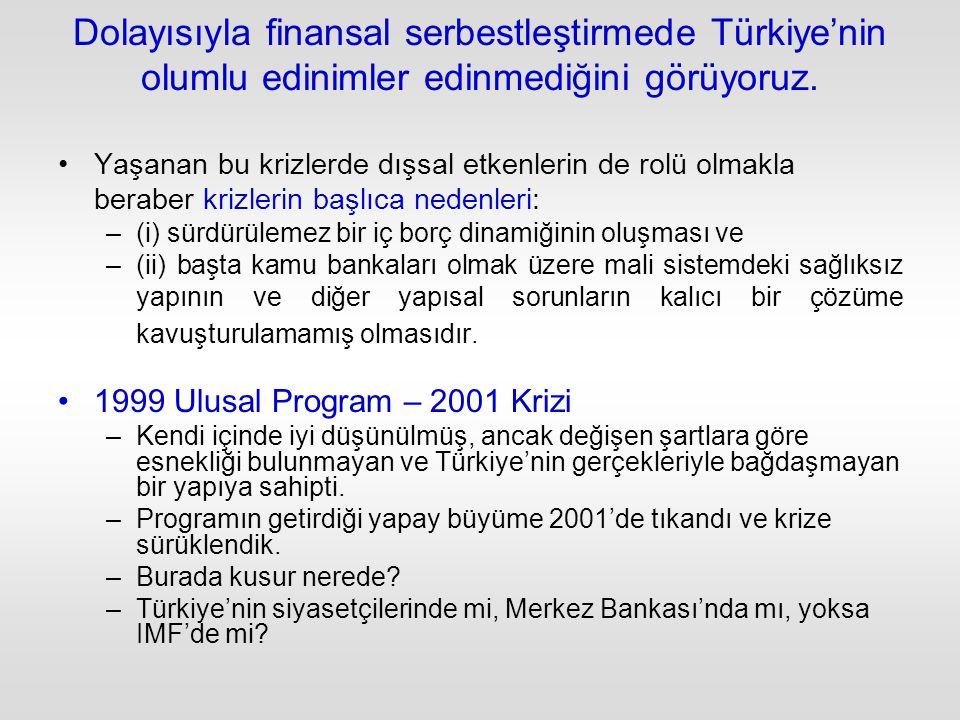 Dolayısıyla finansal serbestleştirmede Türkiye'nin olumlu edinimler edinmediğini görüyoruz.