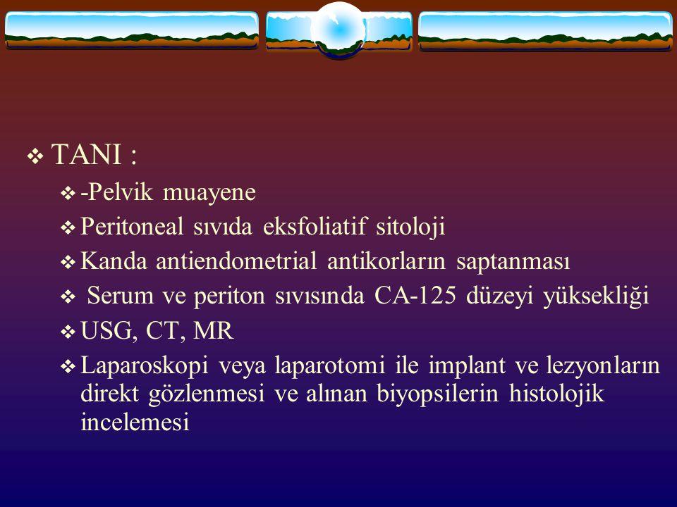  TANI :  -Pelvik muayene  Peritoneal sıvıda eksfoliatif sitoloji  Kanda antiendometrial antikorların saptanması  Serum ve periton sıvısında CA-12