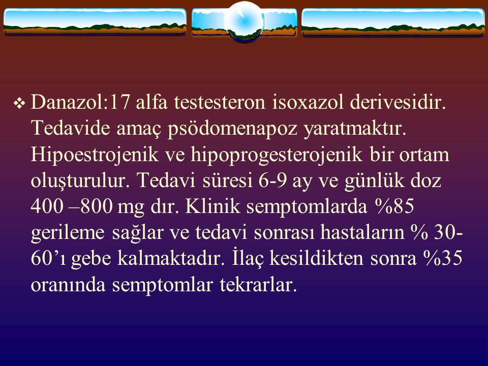  Danazol:17 alfa testesteron isoxazol derivesidir. Tedavide amaç psödomenapoz yaratmaktır. Hipoestrojenik ve hipoprogesterojenik bir ortam oluşturulu