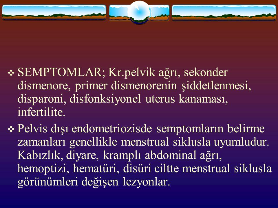  SEMPTOMLAR; Kr.pelvik ağrı, sekonder dismenore, primer dismenorenin şiddetlenmesi, disparoni, disfonksiyonel uterus kanaması, infertilite.  Pelvis