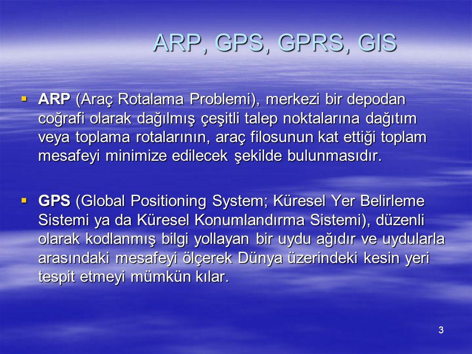 ARP, GPS, GPRS, GIS  ARP (Araç Rotalama Problemi), merkezi bir depodan coğrafi olarak dağılmış çeşitli talep noktalarına dağıtım veya toplama rotalar