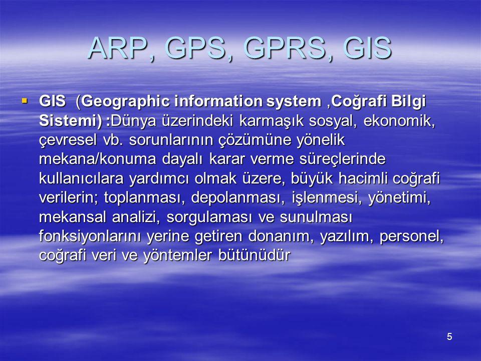 ARP, GPS, GPRS, GIS  Günümüzde kullanılan GPS cihazları ses desteğine sahip sesli uyarı sistemi ile rota yönlendirmesi yapabilmekte ve Otomatik rota düzenleme sistemi ile saniyeler içerisinde yeni rota planı yapabilmektedir.