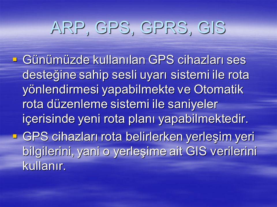 ARP, GPS, GPRS, GIS  Günümüzde kullanılan GPS cihazları ses desteğine sahip sesli uyarı sistemi ile rota yönlendirmesi yapabilmekte ve Otomatik rota