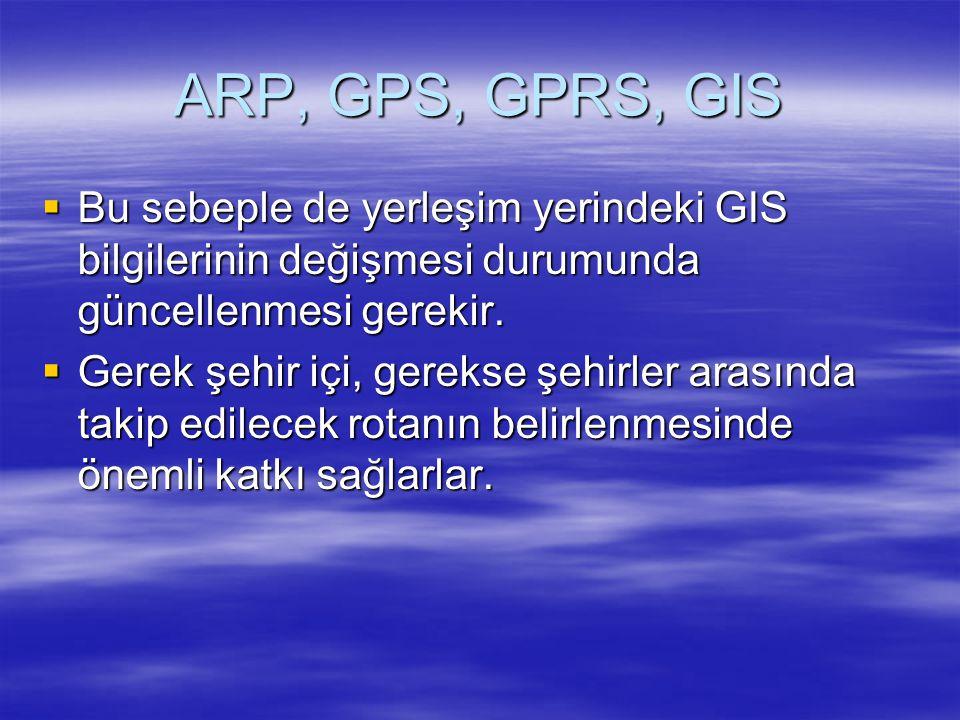 ARP, GPS, GPRS, GIS  Bu sebeple de yerleşim yerindeki GIS bilgilerinin değişmesi durumunda güncellenmesi gerekir.  Gerek şehir içi, gerekse şehirler