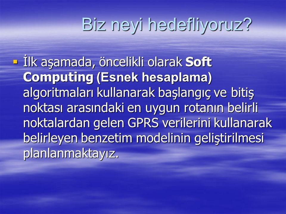 Biz neyi hedefliyoruz?  İlk aşamada, öncelikli olarak Soft Computing (Esnek hesaplama) algoritmaları kullanarak başlangıç ve bitiş noktası arasındaki