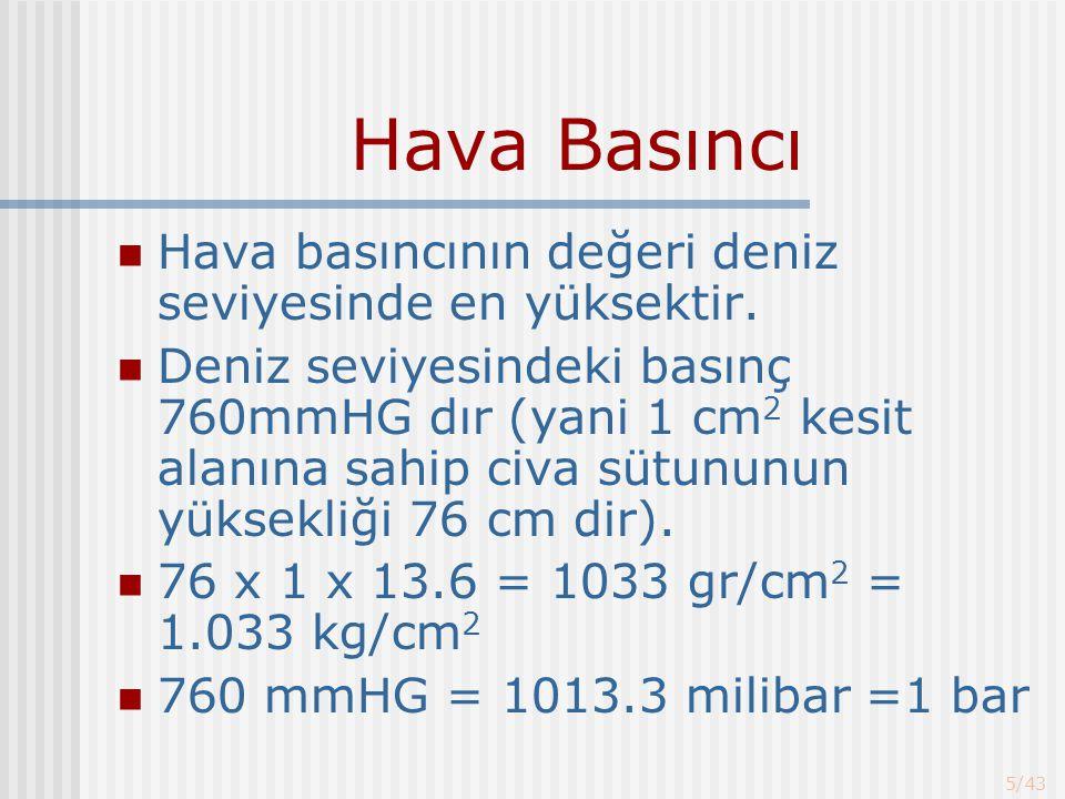 Hava Basıncı Hava basıncının değeri deniz seviyesinde en yüksektir.