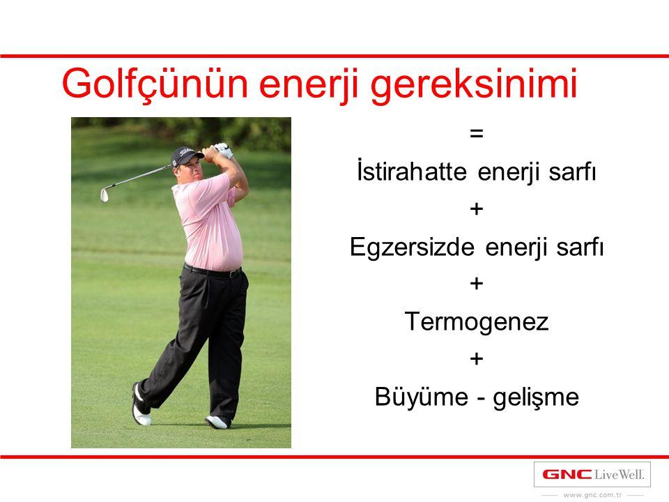 Golfçünün enerji gereksinimi = İstirahatte enerji sarfı + Egzersizde enerji sarfı + Termogenez + Büyüme - gelişme