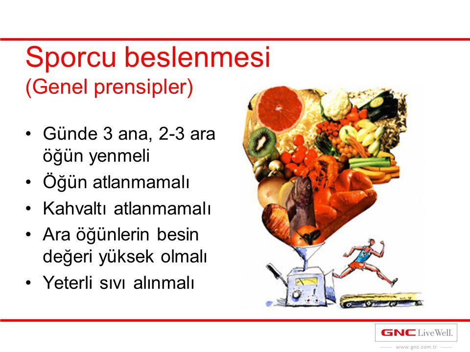 Sporcu beslenmesi (Genel prensipler) Günde 3 ana, 2-3 ara öğün yenmeli Öğün atlanmamalı Kahvaltı atlanmamalı Ara öğünlerin besin değeri yüksek olmalı