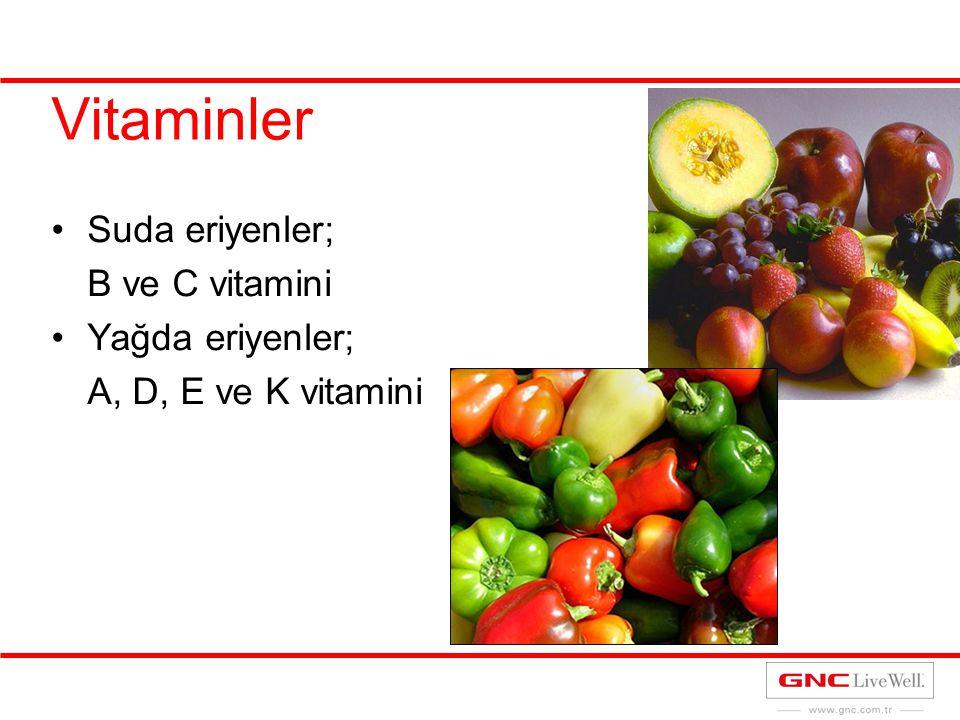 Vitaminler Suda eriyenler; B ve C vitamini Yağda eriyenler; A, D, E ve K vitamini