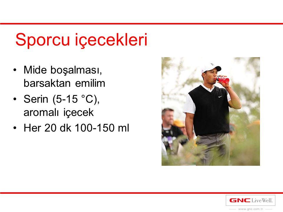 Sporcu içecekleri Mide boşalması, barsaktan emilim Serin (5-15 °C), aromalı içecek Her 20 dk 100-150 ml