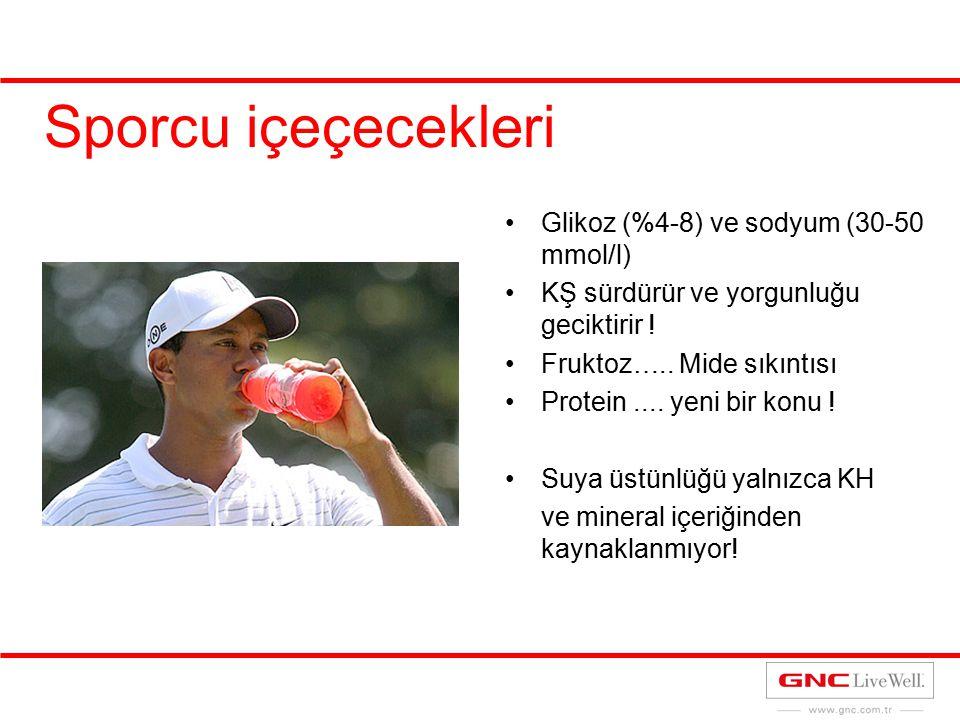 Sporcu içeçecekleri Glikoz (%4-8) ve sodyum (30-50 mmol/l) KŞ sürdürür ve yorgunluğu geciktirir ! Fruktoz….. Mide sıkıntısı Protein.... yeni bir konu
