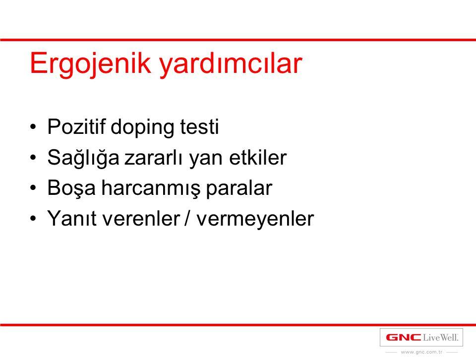 Ergojenik yardımcılar Pozitif doping testi Sağlığa zararlı yan etkiler Boşa harcanmış paralar Yanıt verenler / vermeyenler