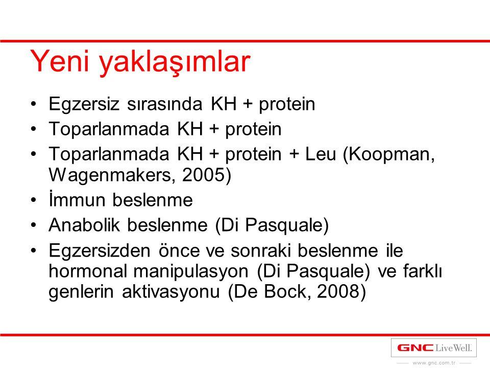 Yeni yaklaşımlar Egzersiz sırasında KH + protein Toparlanmada KH + protein Toparlanmada KH + protein + Leu (Koopman, Wagenmakers, 2005) İmmun beslenme