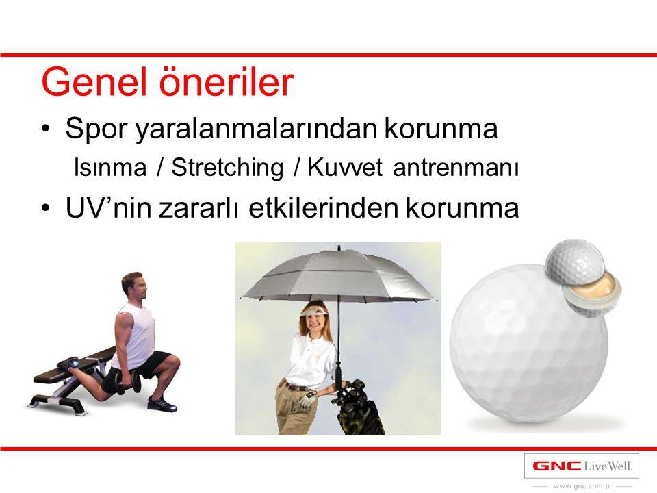 Genel öneriler Spor yaralanmalarından korunma Isınma / Stretching / Kuvvet antrenmanı UV'nin zararlı etkilerinden korunma
