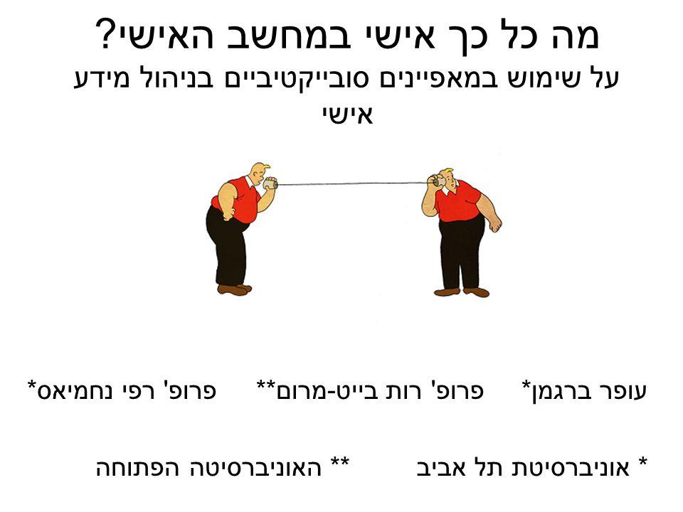 סדר יום: ניהול מידע אישי הגישה הסובייקטיבית-למשתמש Bergman, Beyth-Marom & Nachmias, (2003) JASIS&T בדיקת הגישה דוגמאות ליישומים