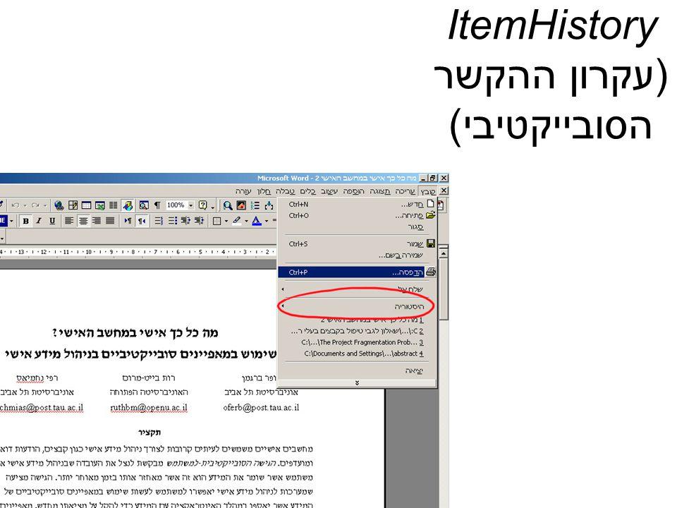 ItemHistory (עקרון ההקשר הסובייקטיבי)