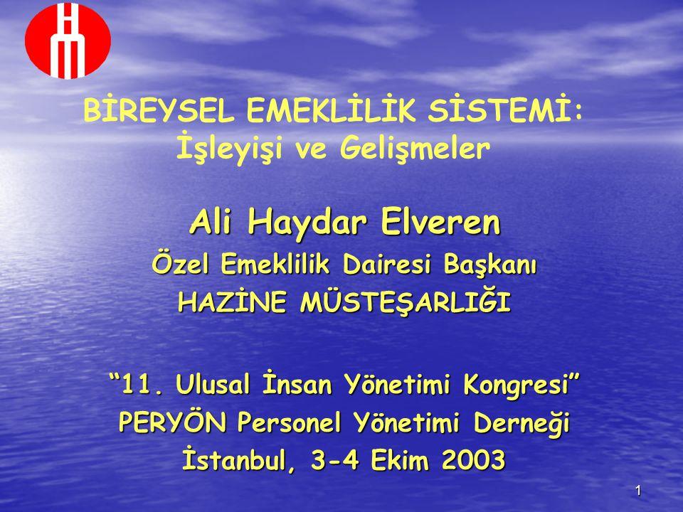 """1 BİREYSEL EMEKLİLİK SİSTEMİ: İşleyişi ve Gelişmeler Ali Haydar Elveren Özel Emeklilik Dairesi Başkanı HAZİNE MÜSTEŞARLIĞI """"11. Ulusal İnsan Yönetimi"""