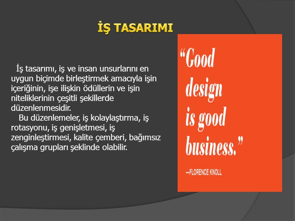 İş tasarımı, iş ve insan unsurlarını en uygun biçimde birleştirmek amacıyla işin içeriğinin, işe ilişkin ödüllerin ve işin niteliklerinin çeşitli şeki