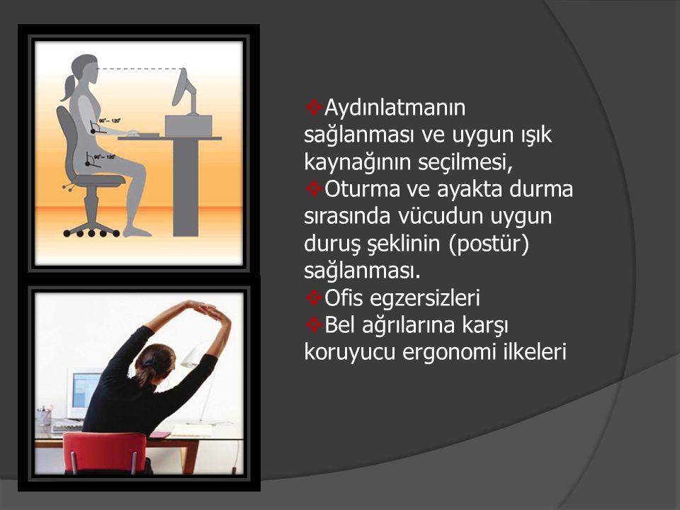  Aydınlatmanın sağlanması ve uygun ışık kaynağının seçilmesi,  Oturma ve ayakta durma sırasında vücudun uygun duruş şeklinin (postür) sağlanması. 
