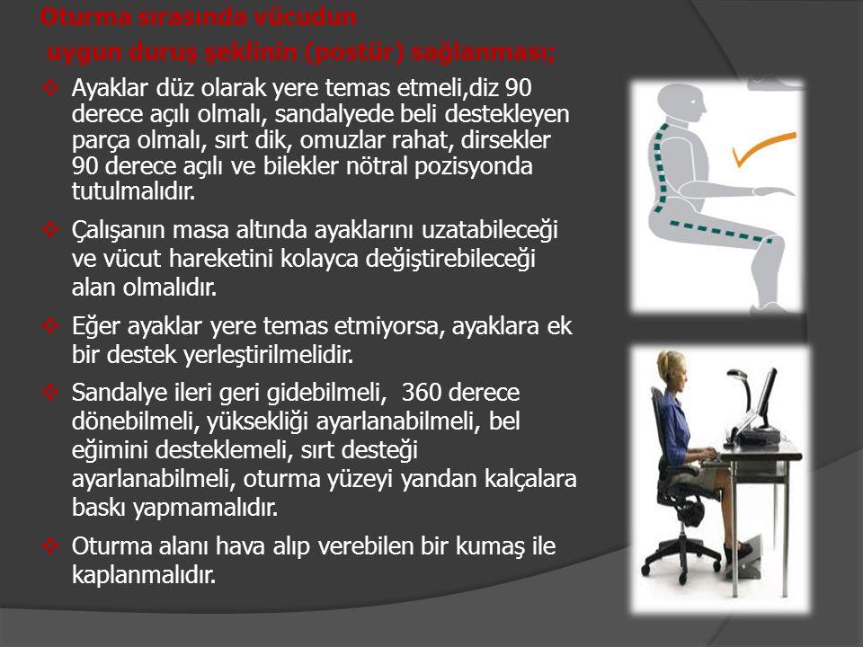 Oturma sırasında vücudun uygun duruş şeklinin (postür) sağlanması;  Ayaklar düz olarak yere temas etmeli,diz 90 derece açılı olmalı, sandalyede beli
