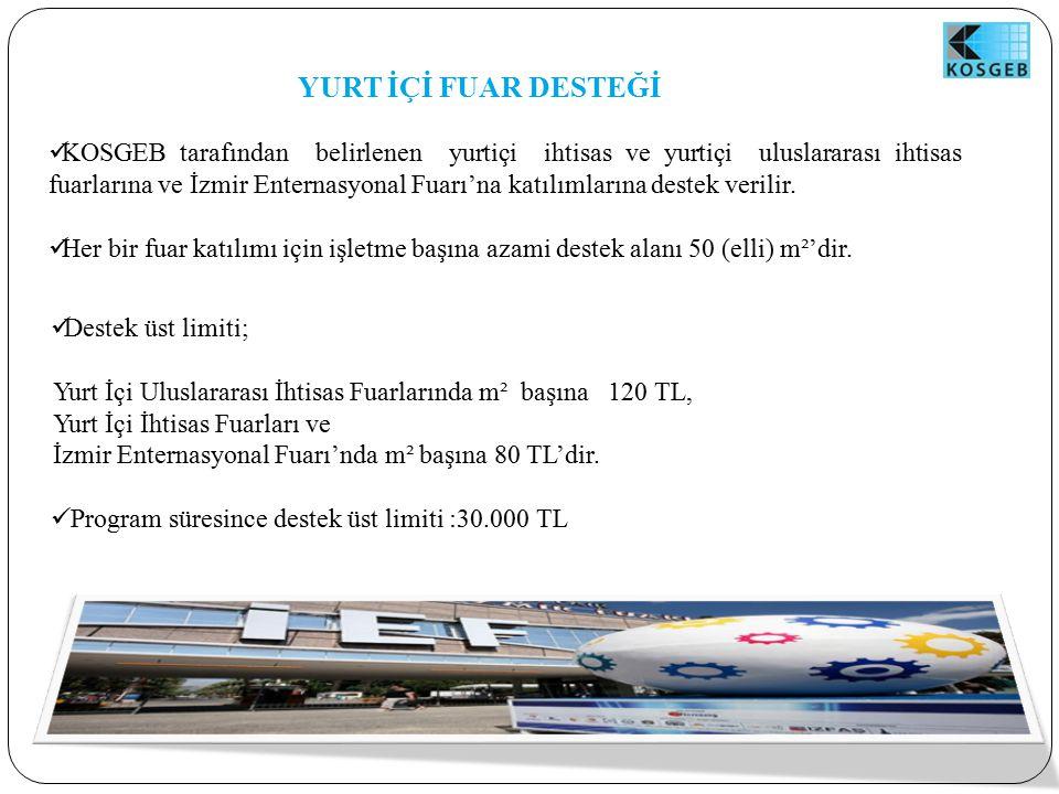 YURT İÇİ FUAR DESTEĞİ KOSGEB tarafından belirlenen yurtiçi ihtisas ve yurtiçi uluslararası ihtisas fuarlarına ve İzmir Enternasyonal Fuarı'na katılımlarına destek verilir.