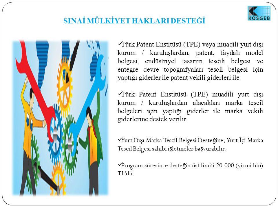 SINAİ MÜLKİYET HAKLARI DESTEĞİ Türk Patent Enstitüsü (TPE) veya muadili yurt dışı kurum / kuruluşlardan; patent, faydalı model belgesi, endüstriyel tasarım tescili belgesi ve entegre devre topografyaları tescil belgesi için yaptığı giderler ile patent vekili giderleri ile Türk Patent Enstitüsü (TPE) muadili yurt dışı kurum / kuruluşlardan alacakları marka tescil belgeleri için yaptığı giderler ile marka vekili giderlerine destek verilir.