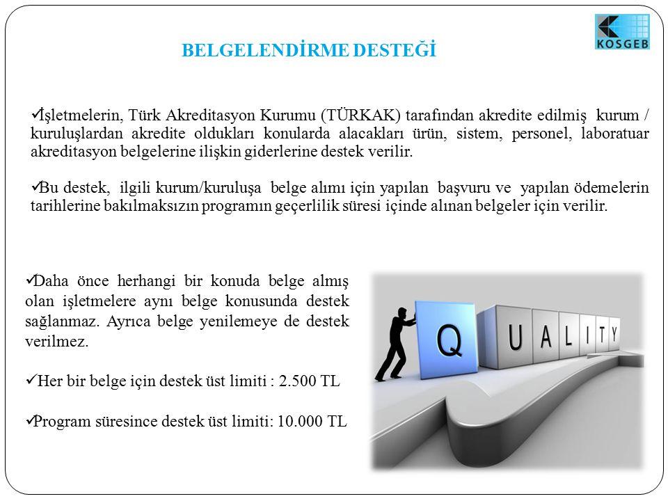 BELGELENDİRME DESTEĞİ İşletmelerin, Türk Akreditasyon Kurumu (TÜRKAK) tarafından akredite edilmiş kurum / kuruluşlardan akredite oldukları konularda alacakları ürün, sistem, personel, laboratuar akreditasyon belgelerine ilişkin giderlerine destek verilir.