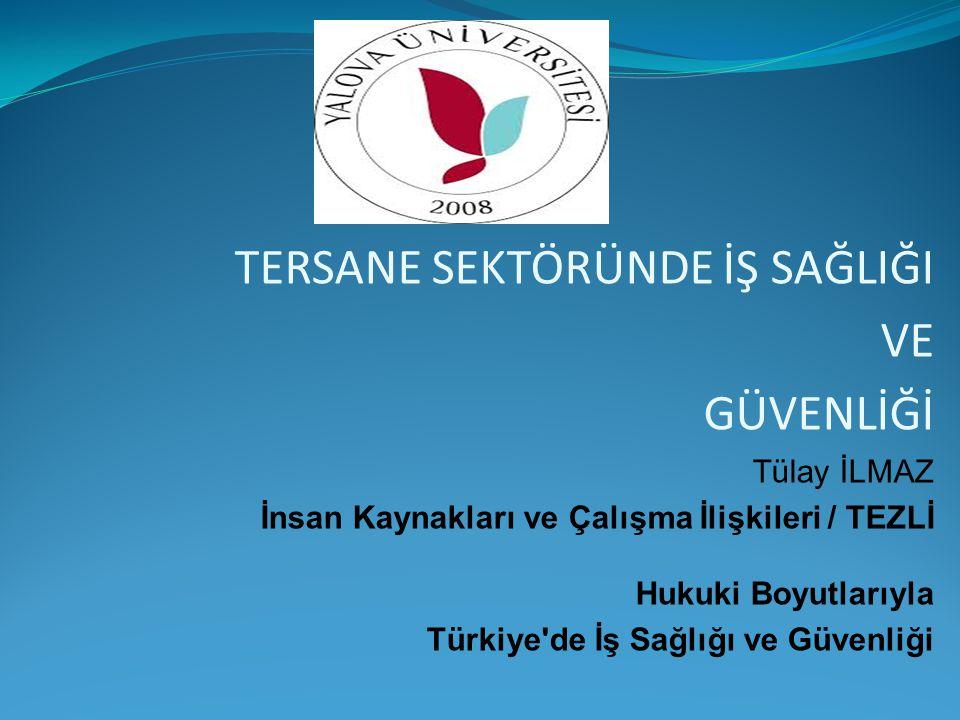 TERSANE SEKTÖRÜNDE İŞ SAĞLIĞI VE GÜVENLİĞİ Tülay İLMAZ İnsan Kaynakları ve Çalışma İlişkileri / TEZLİ Hukuki Boyutlarıyla Türkiye'de İş Sağlığı ve Güv