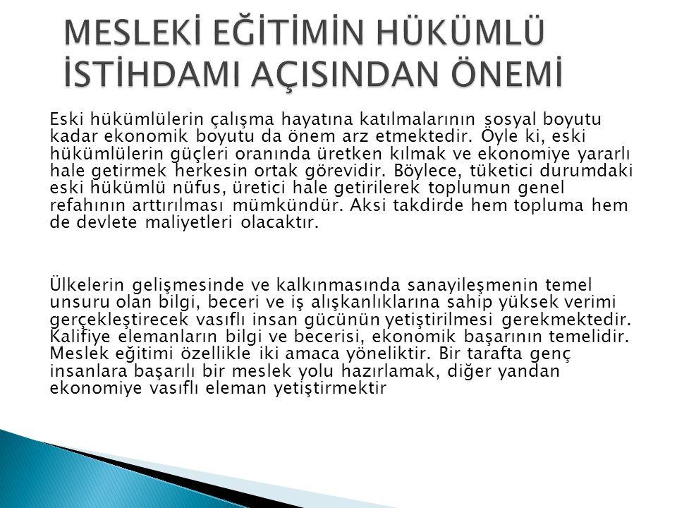 Ülkemizde kamunun eski hükümlü çalıştırma zorunluluğu çerçevesinde, işyerlerinde çok sayıda eski hükümlü kontenjanı boş olmasına rağmen Türkiye İş Kur