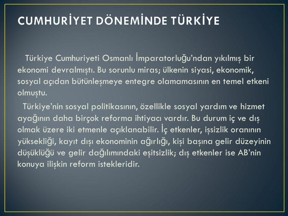 Türkiye Cumhuriyeti Osmanlı İ mparatorlu ğ u'ndan yıkılmış bir ekonomi devralmıştı.