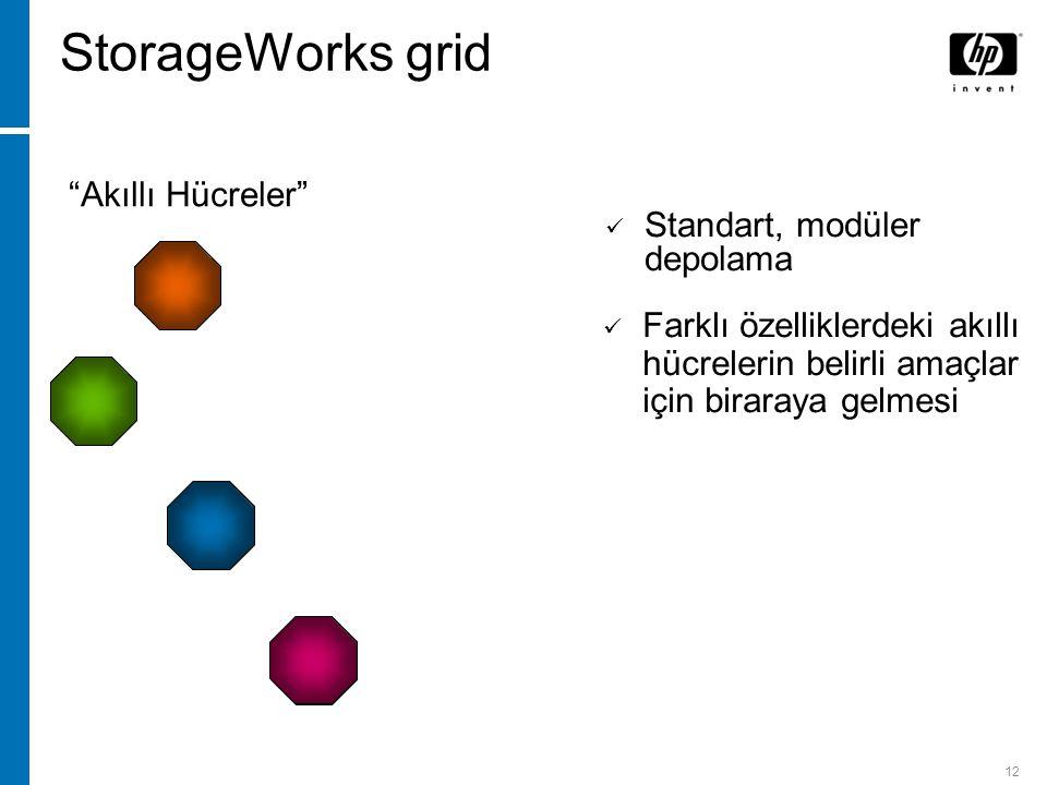 12 Tarz ve raporlama Blok veya dosya sunumu Arama ve indexleme Arşivleme ve geri getirme Farklı özelliklerdeki akıllı hücrelerin belirli amaçlar için biraraya gelmesi Standart, modüler depolama Akıllı Hücreler StorageWorks grid