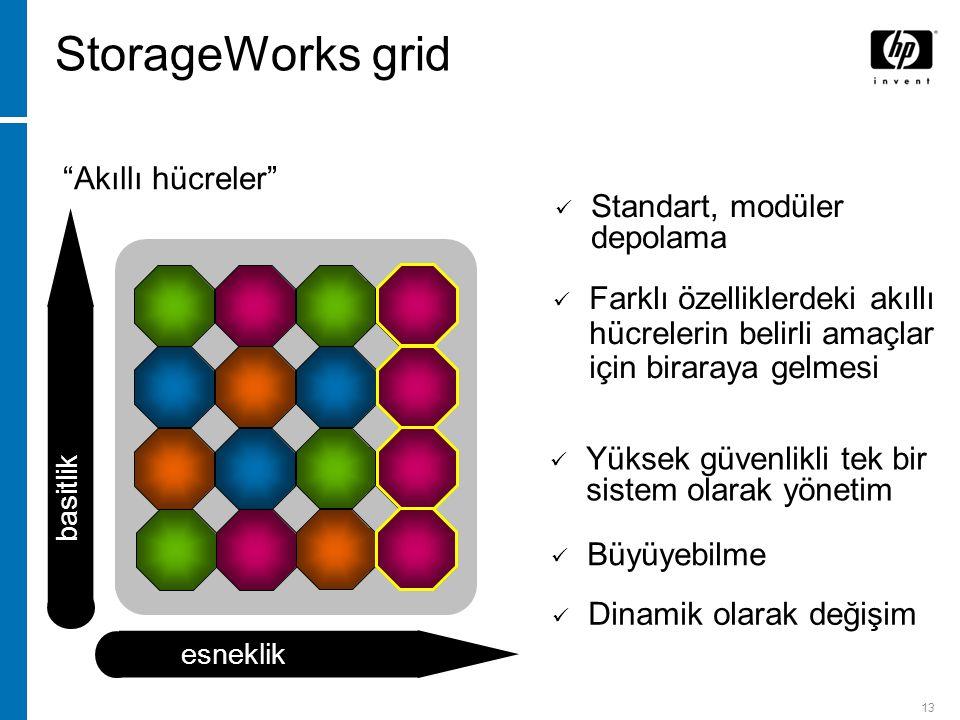 13 Single system image Akıllı hücreler Yüksek güvenlikli tek bir sistem olarak yönetim Dinamik olarak değişim Büyüyebilme basitlik esneklik StorageWorks grid Farklı özelliklerdeki akıllı hücrelerin belirli amaçlar için biraraya gelmesi Standart, modüler depolama