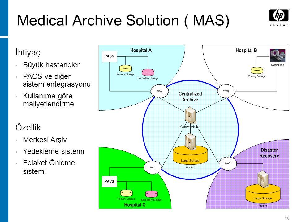 16 Medical Archive Solution ( MAS) İhtiyaç Büyük hastaneler PACS ve diğer sistem entegrasyonu Kullanıma göre maliyetlendirme Özellik Merkesi Arşiv Yedekleme sistemi Felaket Önleme sistemi