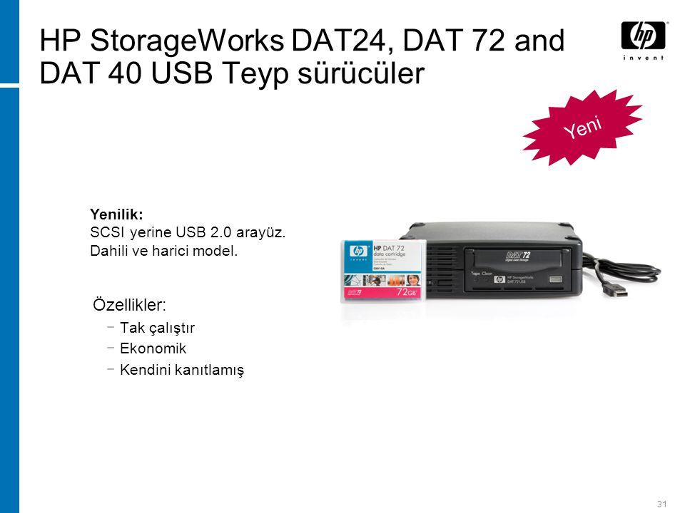 31 Yeni HP StorageWorks DAT24, DAT 72 and DAT 40 USB Teyp sürücüler Özellikler: −Tak çalıştır −Ekonomik −Kendini kanıtlamış Yenilik: SCSI yerine USB 2.0 arayüz.