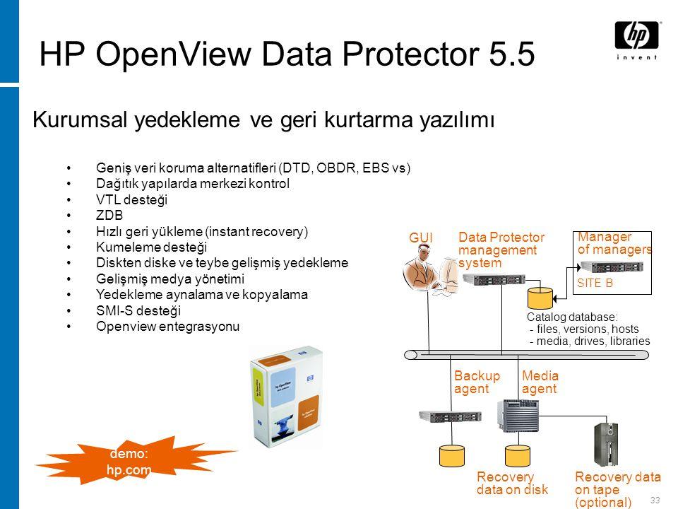 33 HP OpenView Data Protector 5.5 Kurumsal yedekleme ve geri kurtarma yazılımı Geniş veri koruma alternatifleri (DTD, OBDR, EBS vs) Dağıtık yapılarda merkezi kontrol VTL desteği ZDB Hızlı geri yükleme (instant recovery) Kumeleme desteği Diskten diske ve teybe gelişmiş yedekleme Gelişmiş medya yönetimi Yedekleme aynalama ve kopyalama SMI-S desteği Openview entegrasyonu Data Protector management system Backup agent Media agent Catalog database: - files, versions, hosts - media, drives, libraries GUI Recovery data on tape (optional) Recovery data on disk Manager of managers SITE B demo: hp.com